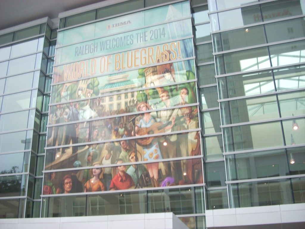The front of the Raleigh Convention Center is decorated with this 2-story welcome sign.