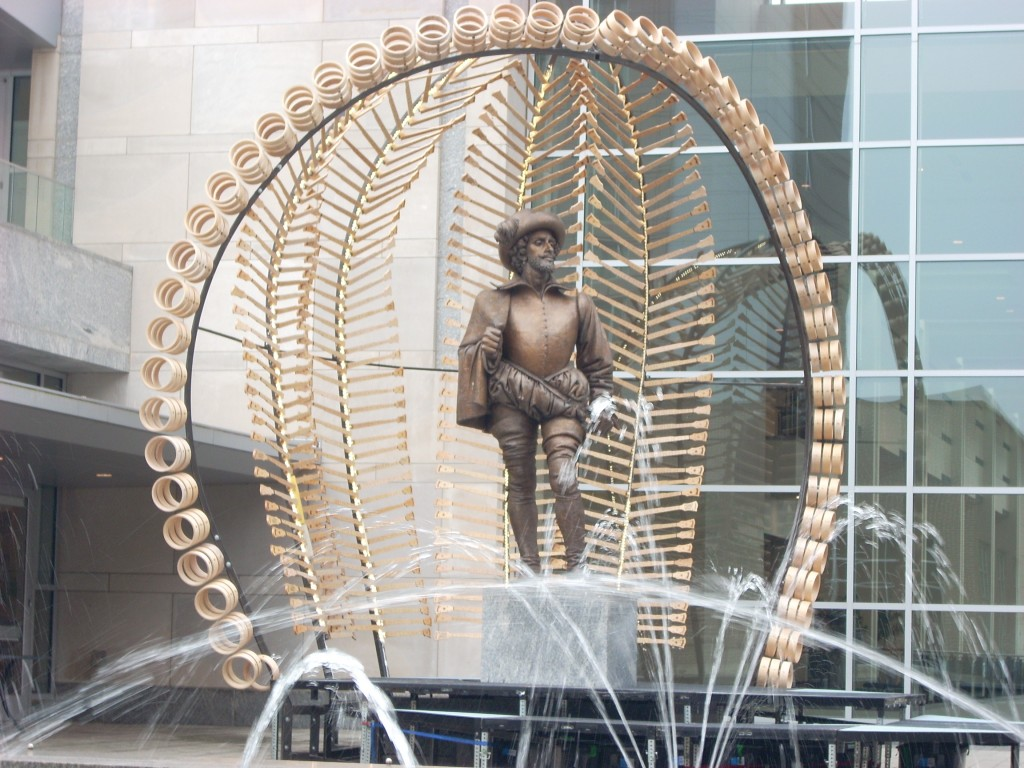This is Sir Walter Raleigh - for whom the city is named.  His statue normally is unadorned (except for last year, when he had a huge banjo strapped over his shoulder).  This year, Sir Walter is decorated with an 'installation' of banjo parts - donated by the Deering Banjo Company - and designed by Bland Hoke.