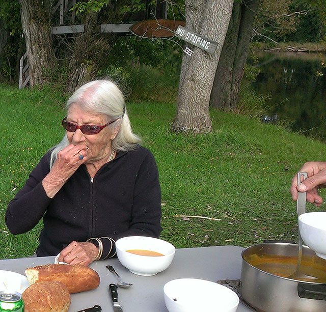 Isis chowing down on Jochen's squash soup, and Ellen's bread. Photo: Mary McCallion