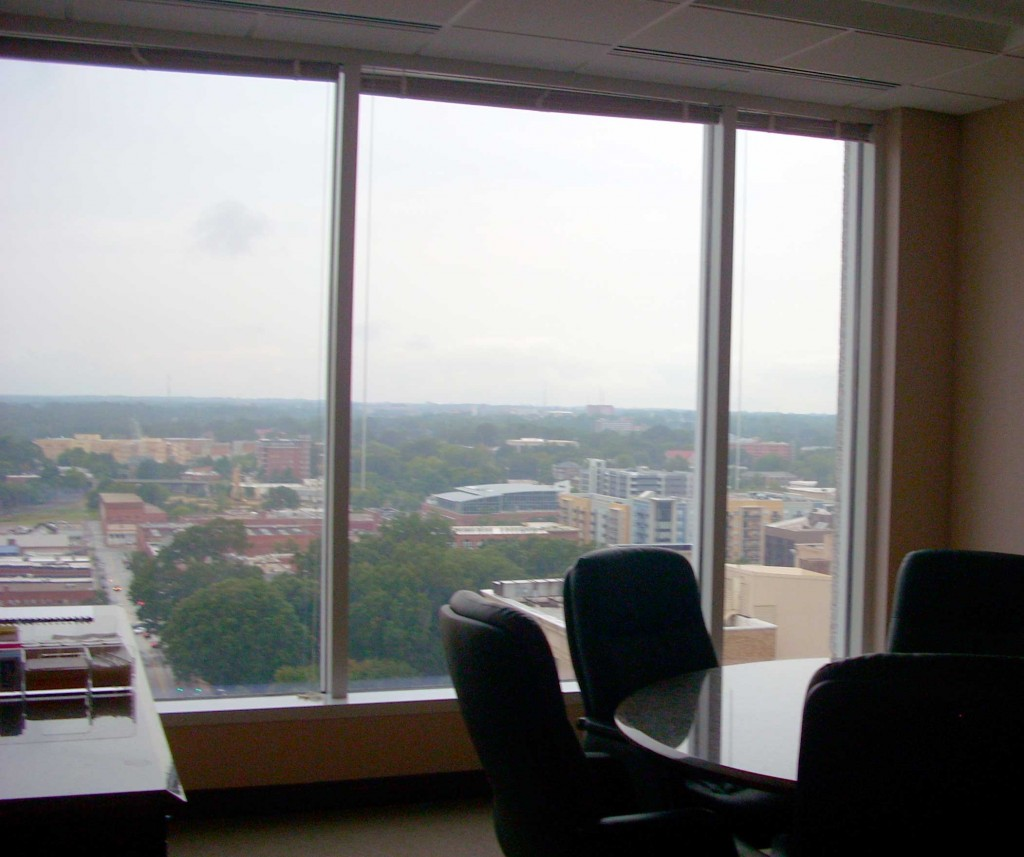 I'm at the Raleigh, NC law firm of Williams-Mullen. They have offered to host our reception. This is one of the many conference rooms on the 17th floor, with beautiful views of the city.