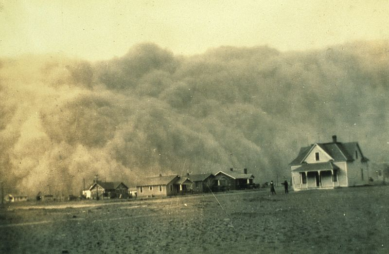 Dust storm approaching Stratford, Texas. Dust bowl surveying in Texas, April 1935. Image: NOAA George E. Marsh Album, theb1365, Historic C&GS Collection