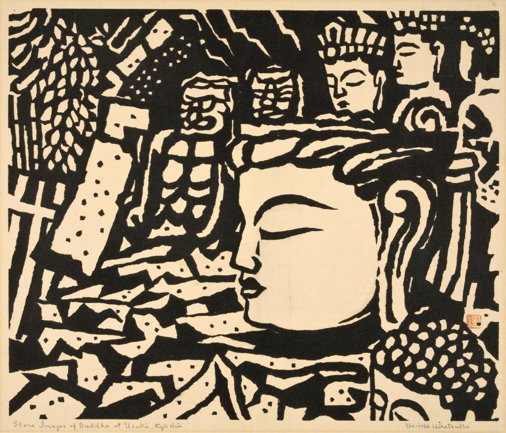 Stone Image of Buddha at Usuki, ca. 1940 Un'ichi Hiratsuka Printed by the artist Woodcut Gift of Alice W. Houston Photo: Marie-Louise Deruaz