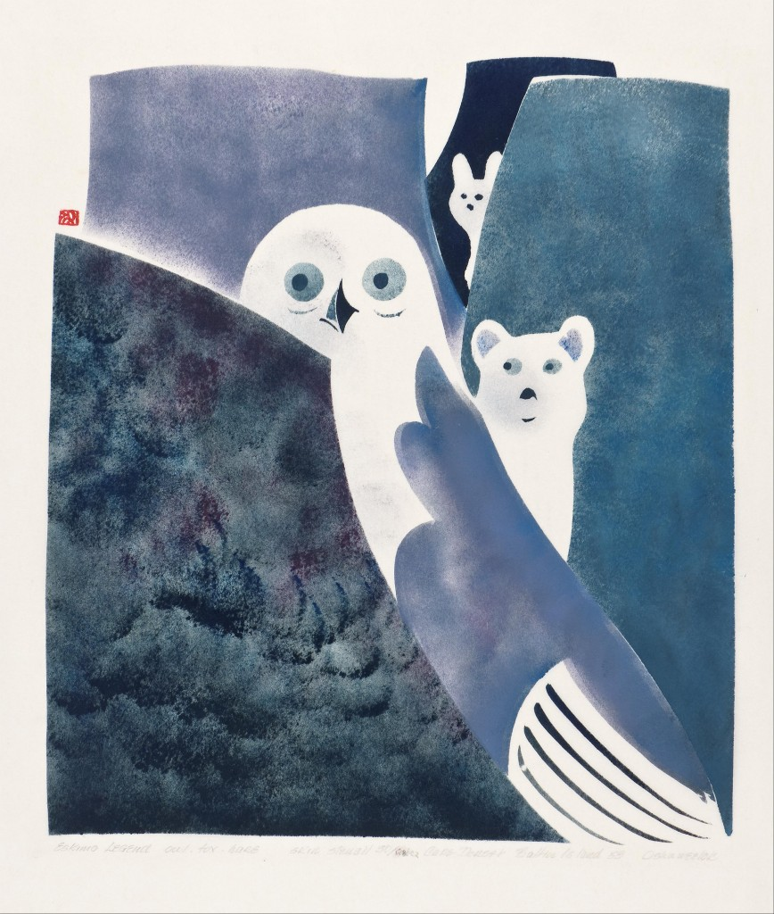 Owl, Fox and Hare Legend, 1959 Osuitok Ipeelee Printed by the artist, with James Houston Stencil Photo: Marie-Louise Deruaz