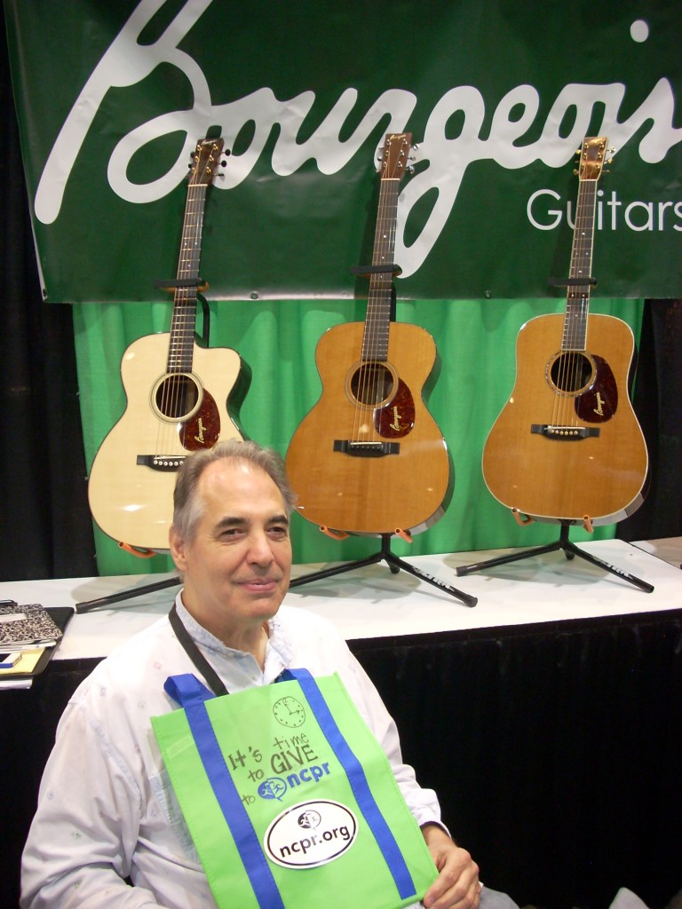 Just so you don't think this convention is only about banjos, there are many guitar crafters at this trade show, and all of them are top notch.  This is one of them.... and he knows the value of public radio.