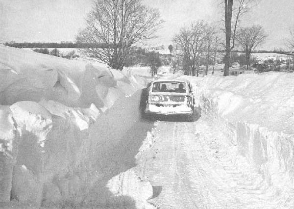 Snow drifts turned many roads into one-lane traffic. This photo is from Feb. 7, 1977. Creative Commons