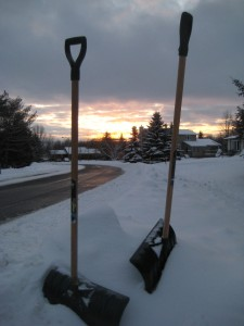 Sun going down on shovels at rest. Photo: Lucy Martin