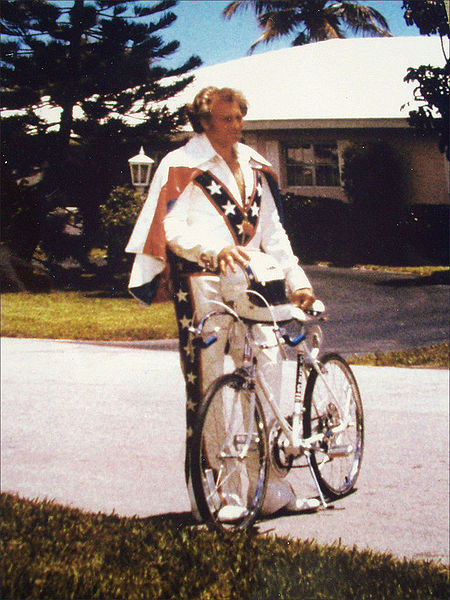 This is daredevil Evel Knievel photographed in front of his house in Ft. Lauderdale, Florida, circa 197?. Image by Bill Wolf, Creative Commons
