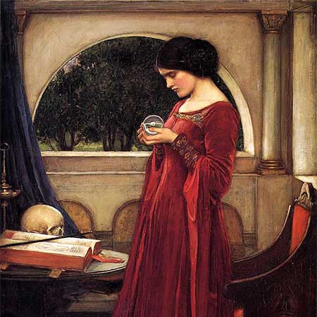 """The Crystal Ball,"" 1902. Painting (detail): John William Waterhouse"