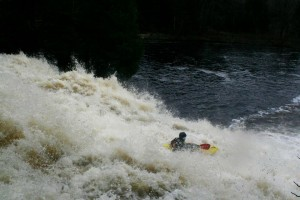 JP Carey paddles Twin Falls on south branch of the Grass River in Degrasse. Photo: Becca Doll