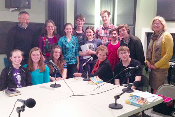 A crowd of book-lovers, young and old, in the NCPR studio. Photo: Joel Hurd