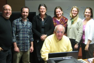 Legendary voice coach, the late David Candow (seated) at NCPR in 2010. Standing, left to right: ,Ric Cengari (Vermont Public Radio), Chris Knight, Lucy Martin, Sarah Harris, Angela Evancie, Melody Bodette (VPR).