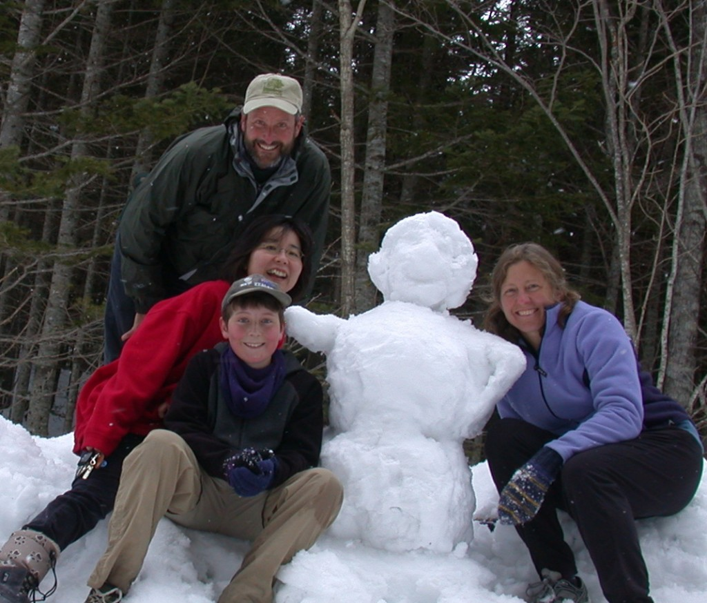 Jay, Azusa and Betsy on a snowy day in March, 2006
