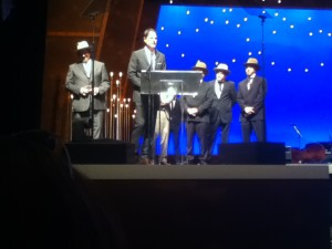 The Earls of Leicester, a Flatt & Scruggs tribute band, accepting one of six IBMA awards last Thursday.