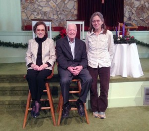 Jimmy and Roselyn Carter and Betsy Kepes at Maranatha Baptist Church in Plains, Georgia.