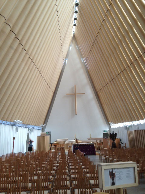 A temporary cathedral made of cardboard tubes stands in for the quake-damaged original. Photo: Tom Vandewater
