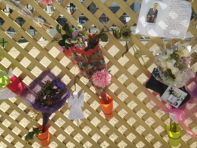 Memorial notes commemorate 5-year anniversary of devastating earthquake. Photo: Tom Vandewater