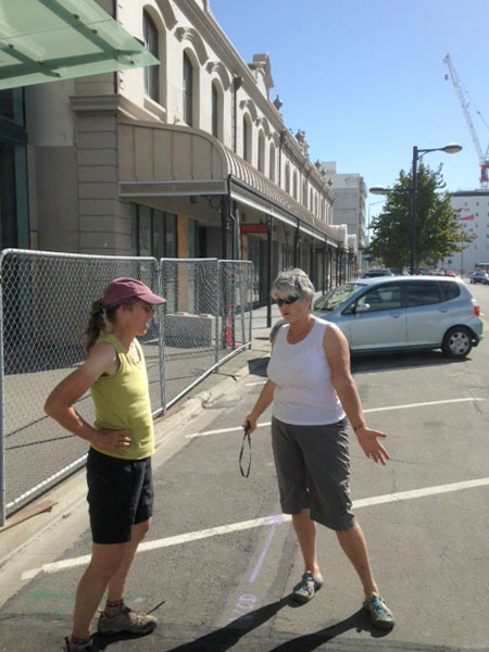 """Betsy and Chris on """"earthquake tour"""" of the damaged center of Christchurch. Photo: Tom Vandewater"""