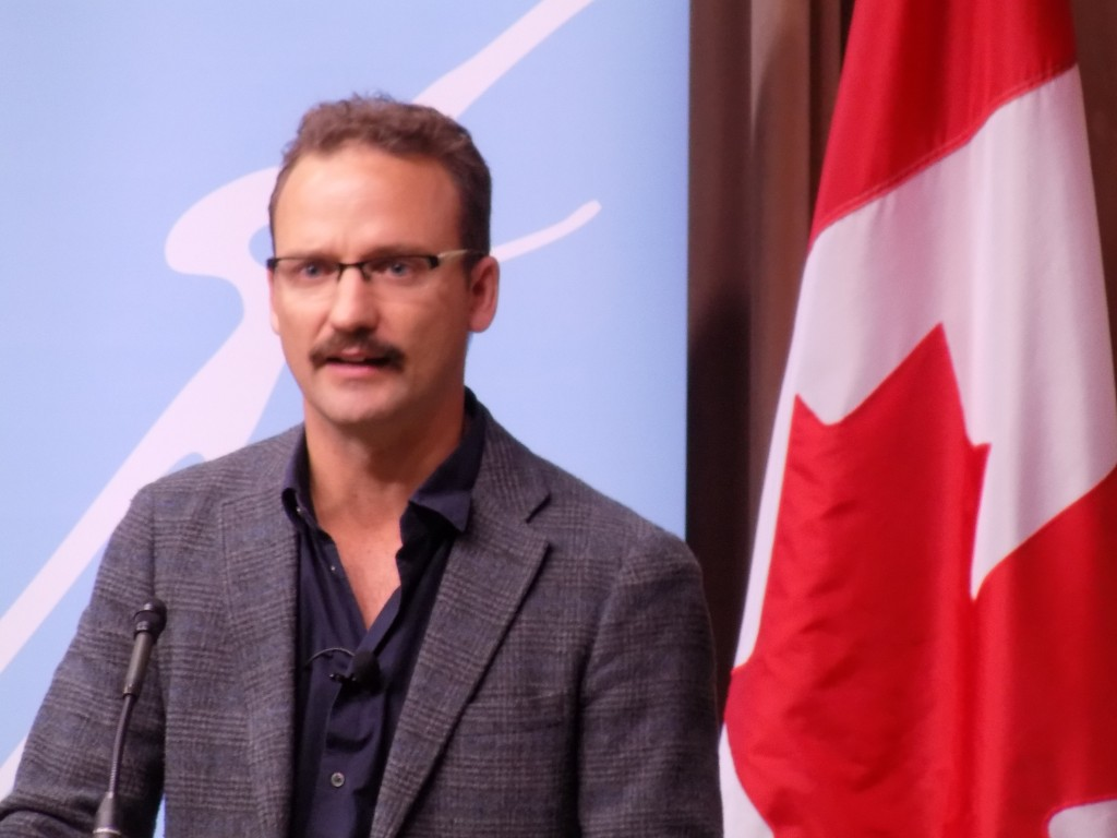Alexandre Trudeau read from his new book Barbarian Lost: Travels in the New China.  The Ottawa Writer's Festival event was held at Library and Archives Canada.  Photo by James Morgan