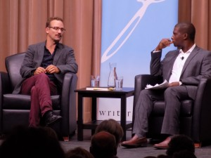 After reading from Barbarian Lost, Trudeau had a conversation with Adrian Harewood, anchor of the 6 o'clock news on CBC-TV in Ottawa.  Photo by James Morgan
