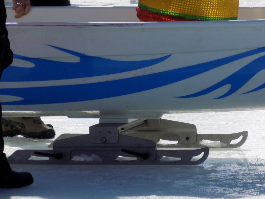 Skate-like blades help Dragon Boats glide along the ice.  Photo: James morgan
