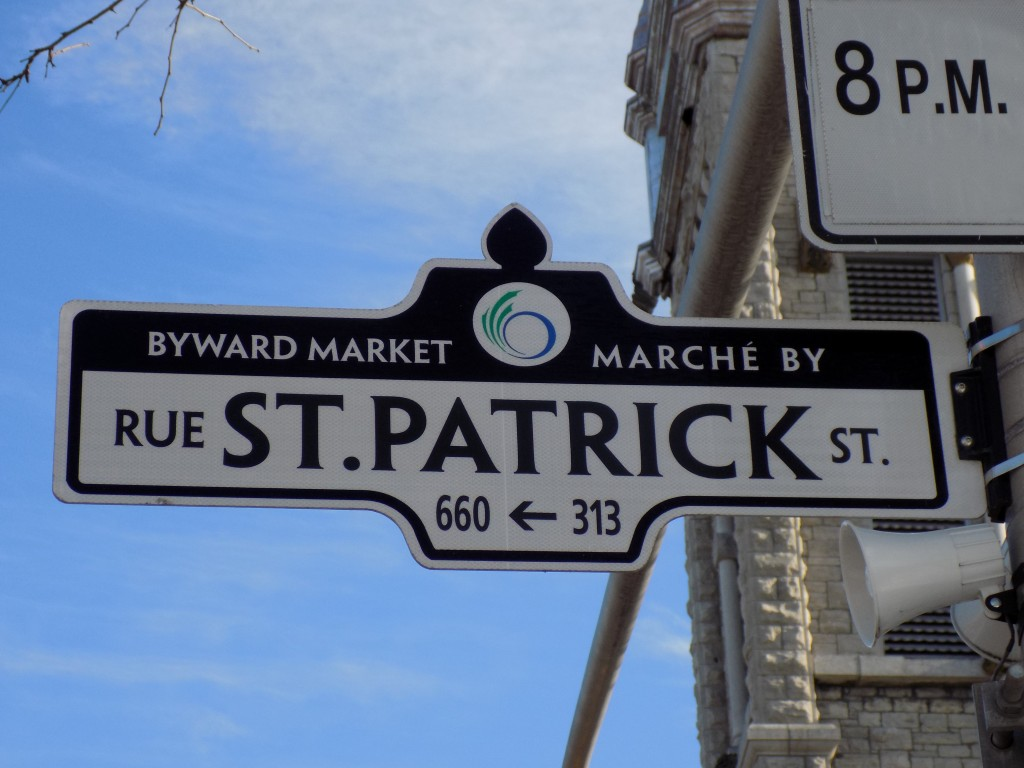 St. Patrick Street sign in the By Ward Market-Lowertown area of Ottawa.  Photo: James Morgan
