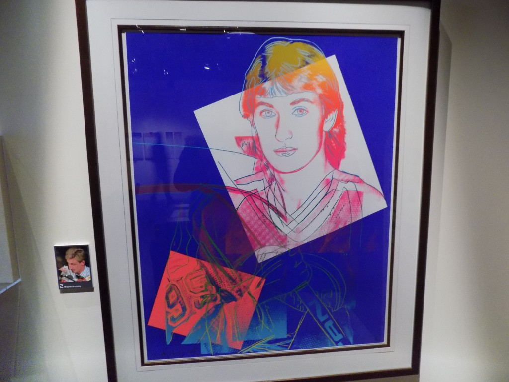 """This is one of six portraits Andy Warhol did of Wayne Gretzky, """"The Great One.""""  Gretzky played for the Edmonton Oilers from 1979 to 1988, the Los Angeles Kings from 1988 to 1996, the St. Louis Blues in 1996, and the New York Rangers from 1996 to 1999 when he retired.  Photo: James Morgan"""