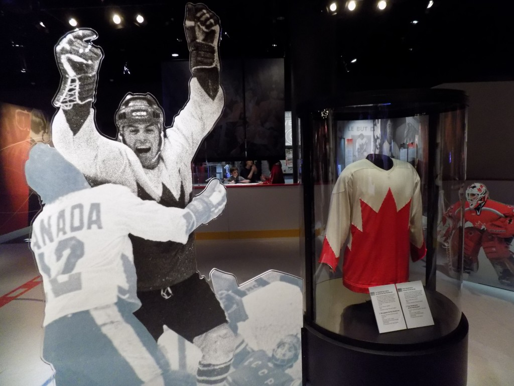 """Paul Henderson played for the Toronto Maple Leafs and Detroit Red Wings in the NHL and the Toronto Toros, Birmingham Bulls, and Atlanta Flames in the short-lived World Hockey Association (WHA).  Henderson is best know though for scoring the winning goal for Canada in the 1972 Canada-Russia Hockey """"Summit"""" Series.  Henderson's jersey from the game is shown here.  Photo: James Morgan"""