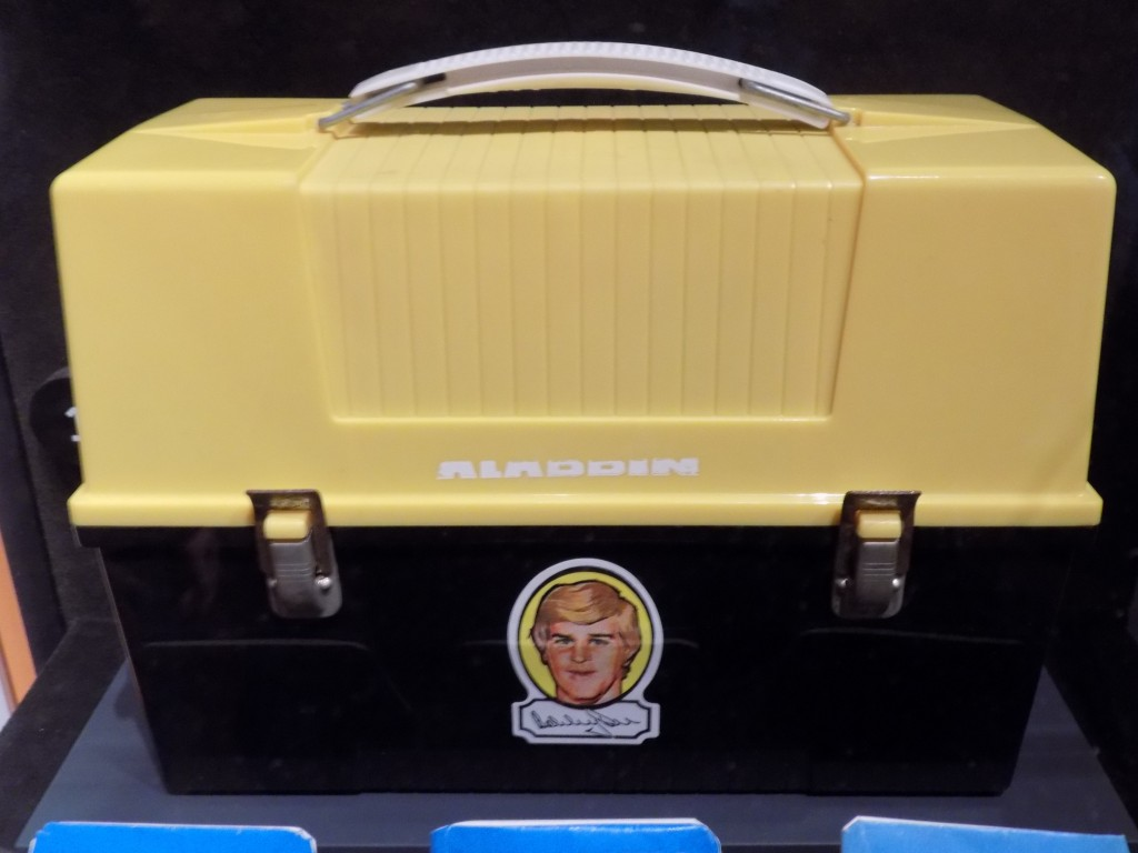 A Bobby Orr lunchbox in Boston Bruins colors.  Orr  is from Parry Sound Ontario and played for Boston from 1966 to 1976 and for the Chicago Blackhawks from 1976 to 1978.