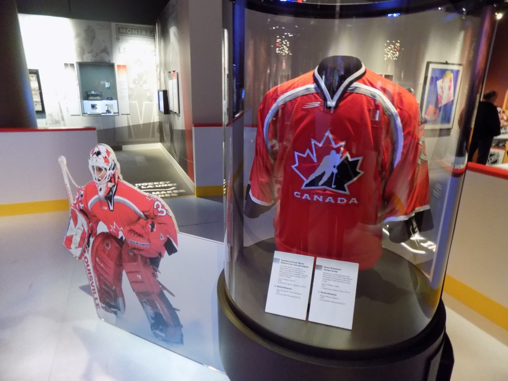 Manon Rheaume wore this Jersey as goaltender of the Canadian Women's team at the 1998 Winter Olympics.  Rheaume is also the first and only woman to ever play in the NHL.  She was goaltender for the Tampa Bay Lightning in exhibition games in 1992 and 1993.  Photo: James Morgan