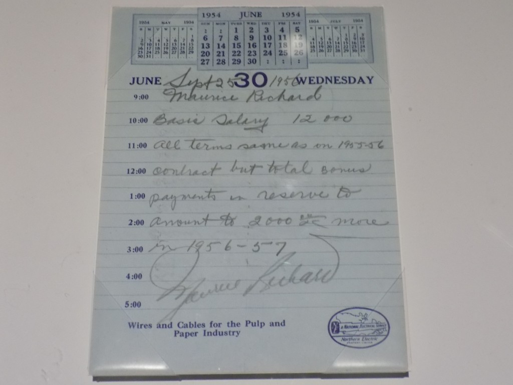 """NHL player contracts were often very informal, and not always to the benefit of players either.  Maurice """"The Rocket"""" Richard's 1956 contract with the Montreal Canadiens is written on an old calendar page.  Photo: James Morgan"""