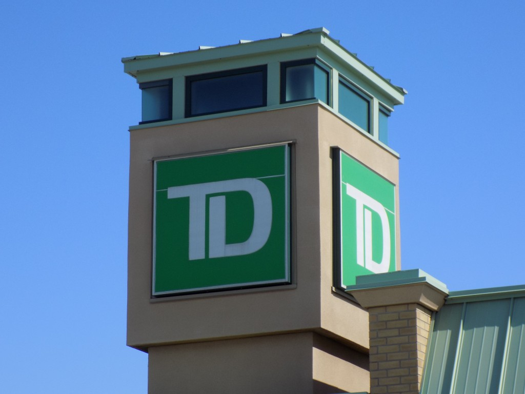 TD sign on a branch building in Gatineau, Quebec.  Photo: James Morgan