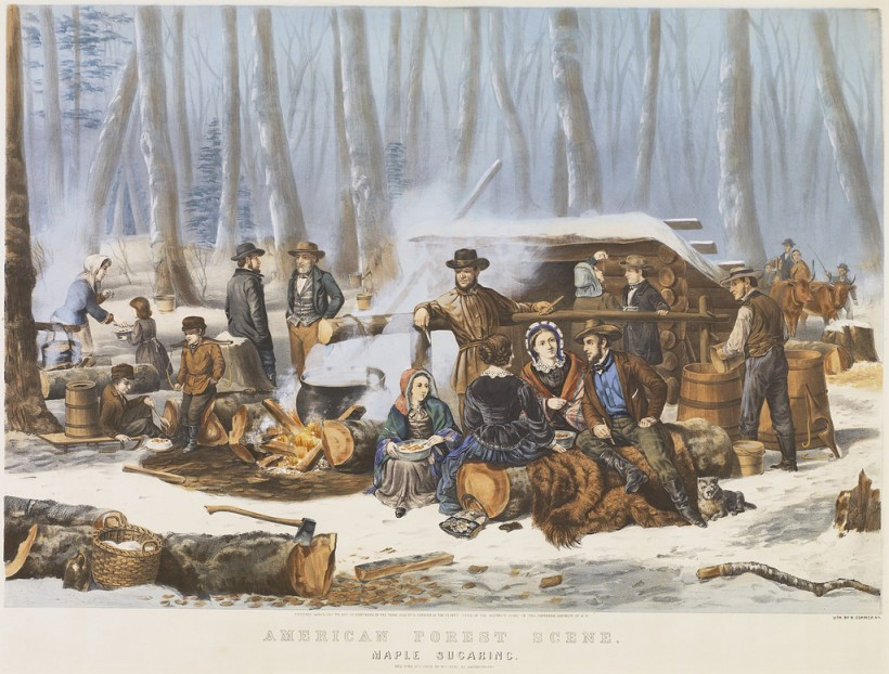 """American Forest Scene: Maple Sugaring,"" toned lithograph with applied watercolor. Artist: Arthur Fitzwilliam Tait, 1856. Printed and published by Nathaniel Currier. From St. Lawrence University archives."