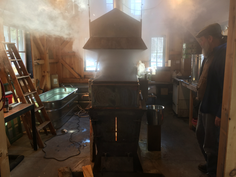 Michael Greer observing his evaporator during full boil.