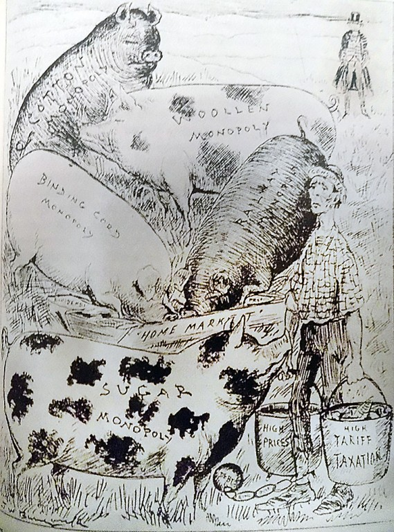 An editorial cartoon in support of free trade from 1888. In it, Canadian consumers were weighed down and weary because protectionism benefited swine-like industrial trusts, and led to high prices and high taxes. Uncle Sam stands watching in the background. Artist: J.W. Bengough, one of the most notable early Canadian editorial cartoonists, in Grip, Jan. 21, 1888.