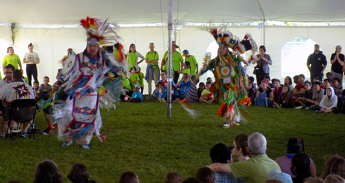 Pow Wow Dancers performed. The drummers are at the left. Photo: James Morgan