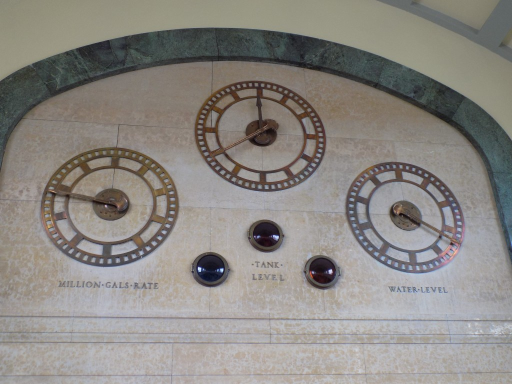 These gauges and lights, high on the marble walls of the main hall, used to show water levels and flow through the filtration system in the days before the plant was automated.  Photo: James Morgan