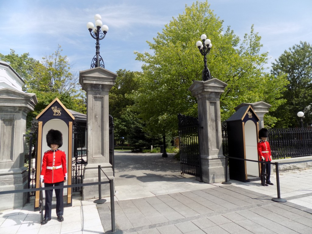 Ceremonial Guard soldiers outside the gate to Rideau Hall in Ottawa. Photo: James Morgan