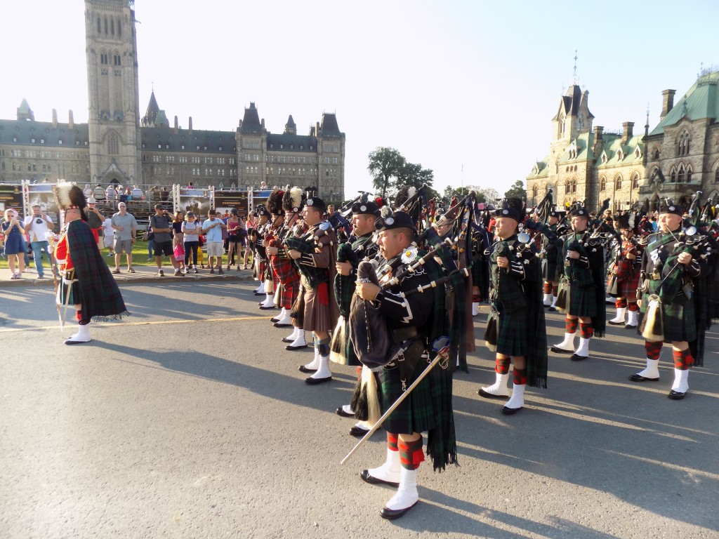 Canadian Army bagpipers marching onto Parliament Hill for Fortissimo.  Photo: James Morgan