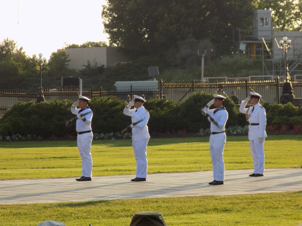 The German sailors gave an impressive drill performance.  Photo: James Morgan