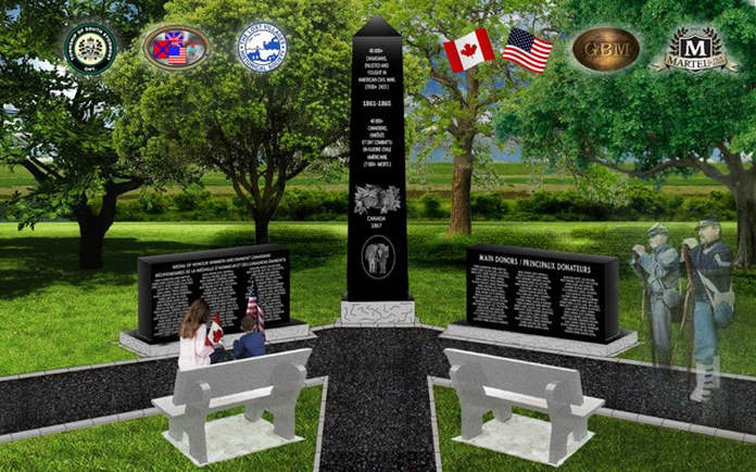 What the Civil War monument at Ault Park near Cornwall will look like when complete.  From the Grays and Blues of Montreal website.