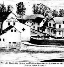 Woolen mill and home of J. and C.H. Wood in Moulinette, circa 1879.  Union Army soldier Pvt. William Ellis was from the village.  From Wikipedia entry on Moulinette.