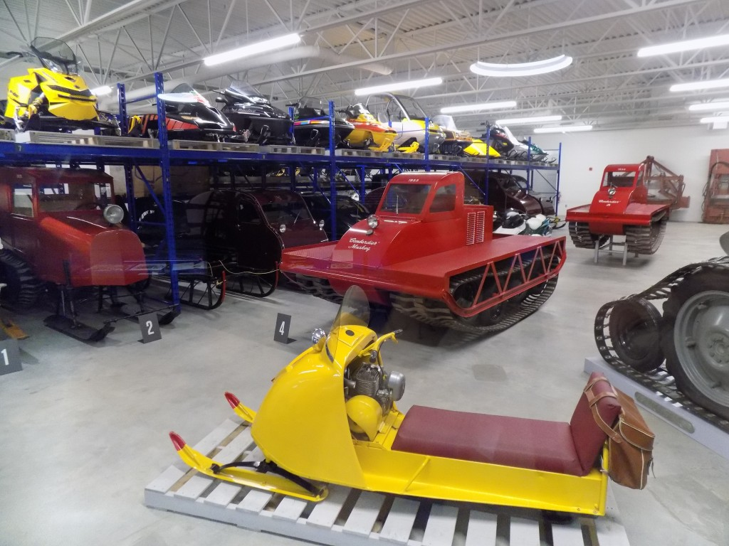 Some of the past models of Bombardier-made snowmobiles on display at the Joseph-Armand Bombardier Museum of Ingenuity in Valcourt, Quebec.  Photo: James Morgan