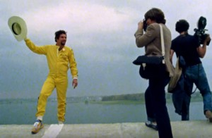 "Stuntman Kenny Powers poses for photographers at the lip of the launch ramp. Video still: ""The Devil at Your Heels,"" NFB via Youtube"