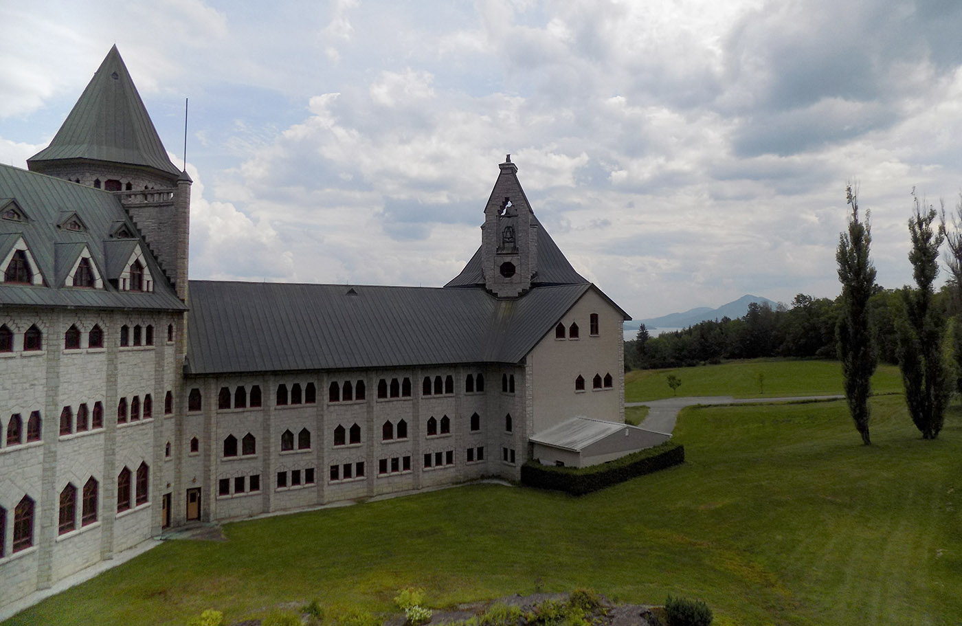 The rear area of the abbey is where the monks live in small individual rooms known as cells. Mountains and Lake Memphremagog are in the background. Photo: James Morgan