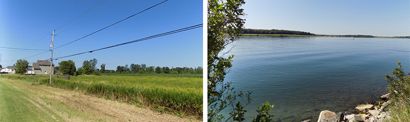 Left: The Superjump ramp area as it appears today. No real evidence of the ramp remains. Right: The St. Lawrence near Morrisburg at the approximate site of the jump area. Ogden Island is across the channel. Photos: James Morgan