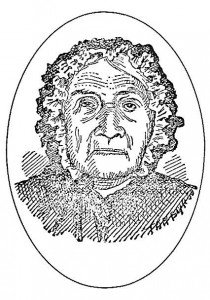 A sketch of an elderly Mother Barnes.  From Leeds and Grenville: Their first two hundred years, 1967.