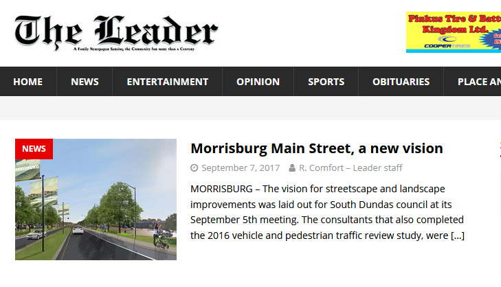 The Morrisburg Leader is an independent, family-owned newspaper. (screen shot)