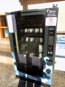 Harm reduction supplies in a vending machine in Ottawa.  Photo: James Morgan