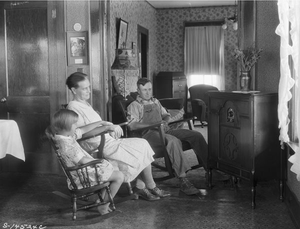 Farm family listening to their radio, September 1930. Photo: George W. Ackerman, National Archives and Records Administration
