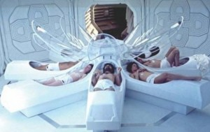 """Are we there yet?"" Crew rousing from suspended animation sleep in the science fiction movie ""Alien."" Film still: Twentieth Century Fox"